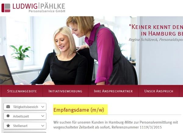 Empfangsdame m_w gesucht - Screenshot Ludwig & Paehlke Website