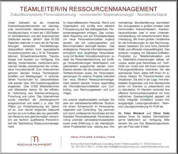 Zahlt auch aufs Employer Branding ein: Stellenanzeige Teamleiter Ressourcenmangement