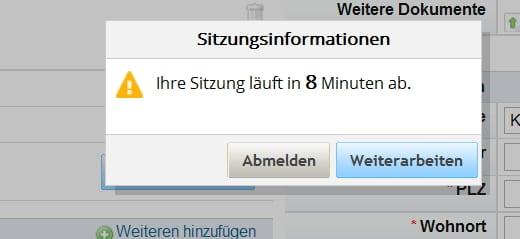 Bewerben bei der Telekom - Ihre Sitzung läuft nach 8 Minuten ab