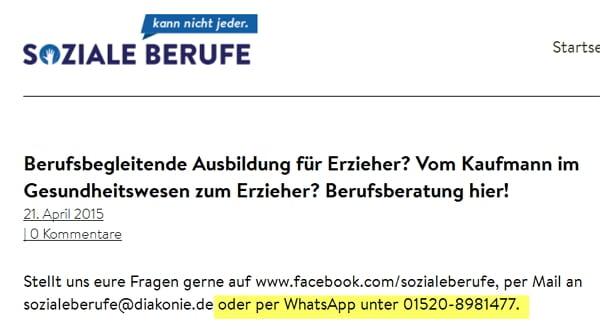WhatsApp in der Berufsberatung bei Soziale Berufe kann nicht jeder