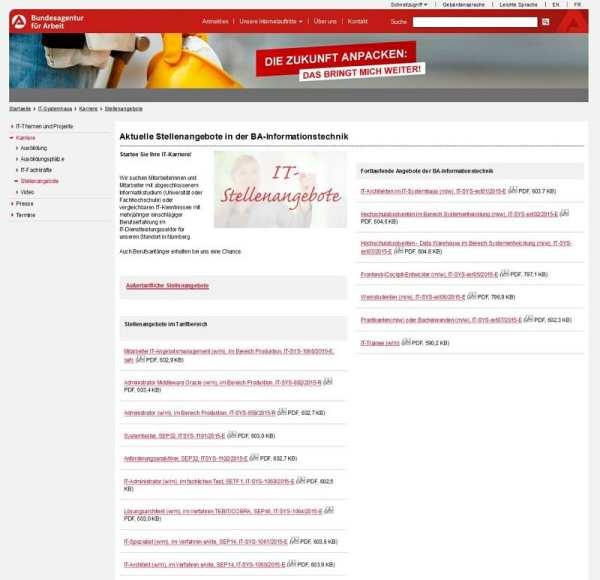 Stellenangebote beim IT-Systemhaus der BA - alles per PDF