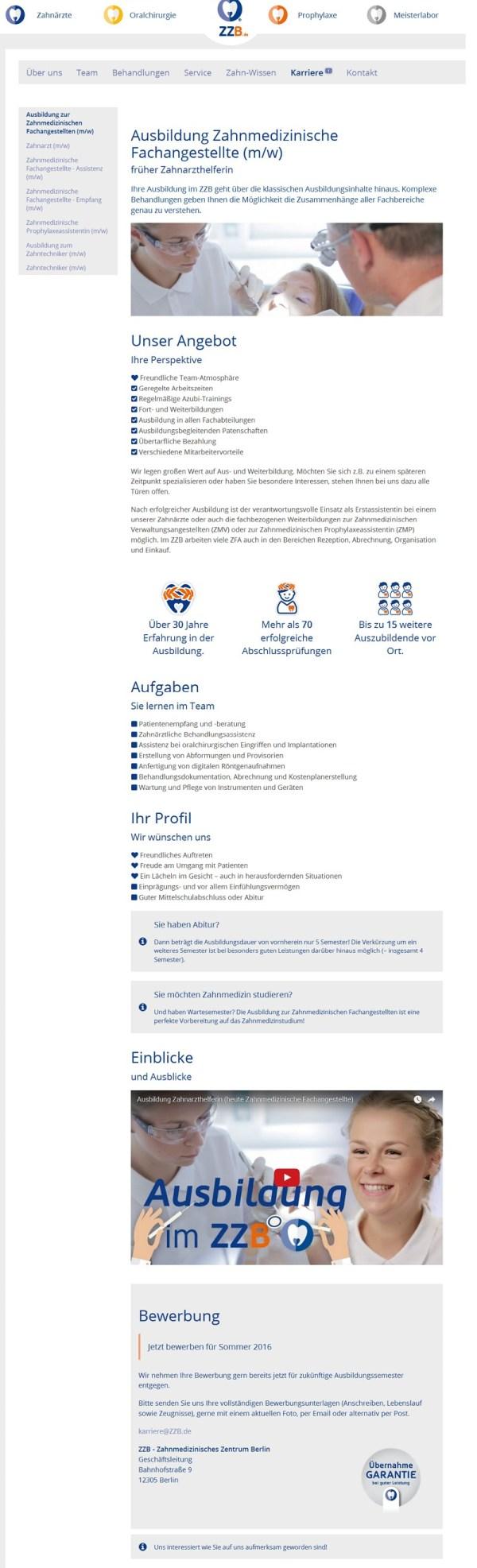 Ausbildung Zahnmedizinische Fachangestellte - Website des ZZB