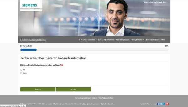 Online-Bewerbung bei Siemens - Motivationsschreiben
