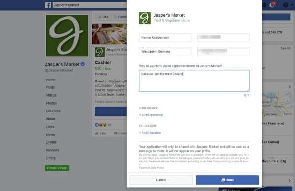 Jobs on Facebook - Einfaches, vorausgefülltes Online-Formular