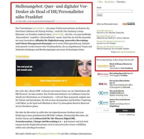 personalmarketing2null-Jobs - Beispiel für Stellenanzeige Premium