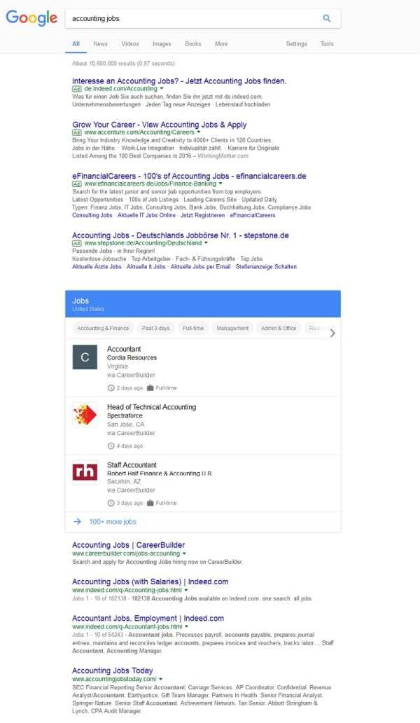 Google for Jobs - prominent platziert in den organischen Suchergebnissen