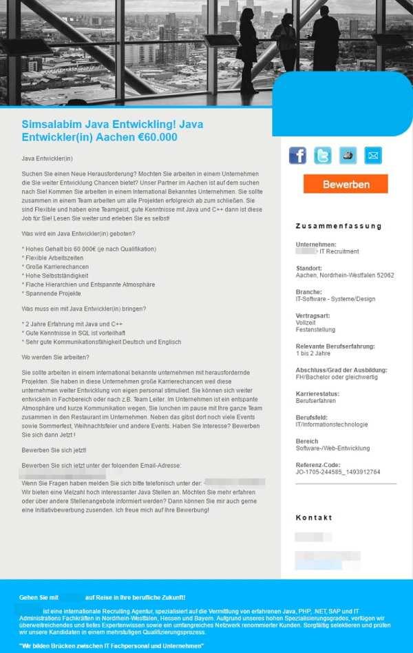 Simsalabim Java Entwickling - Stellenanzeige für einen Java-Entwickler - Screenshot Monster