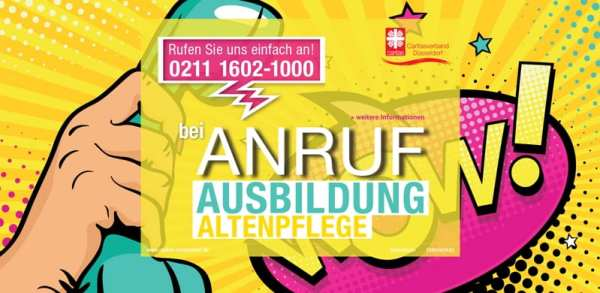 Bei Anruf Ausbildung Altenpflege - Screenshot Caritas Düsseldorf