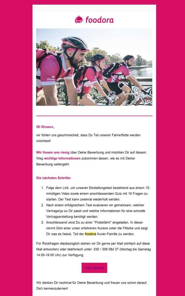 Eingangsbescheid auf die Bewerbung als Fahrradkurier bei Foodora