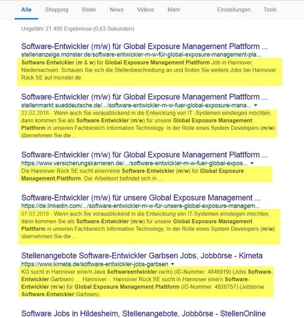 Vorschau der Stellenanzeige bei Google