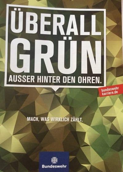 Bundeswehr-Kampagne - Überall grün. Ausser hinter den Ohren. mit fehlender Call to Action