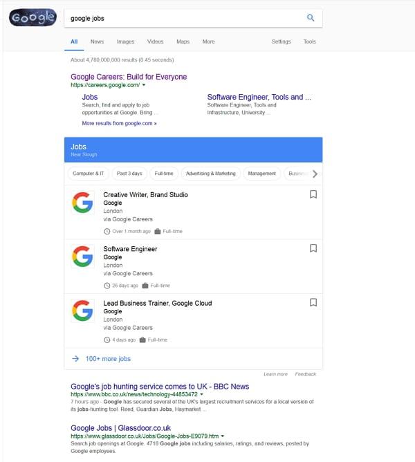 Google Jobs jetzt auch in UK
