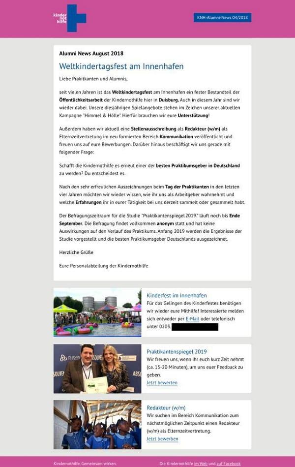 Newsletter mit Job-Angebot bei der Kindernothilfe Duisburg - Quelle Kindernothilfe