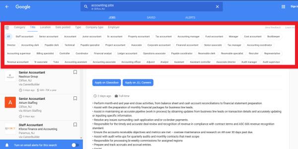 Google for Jobs bietet eine Fülle an Filtermöglichkeiten - Screenshot google.com