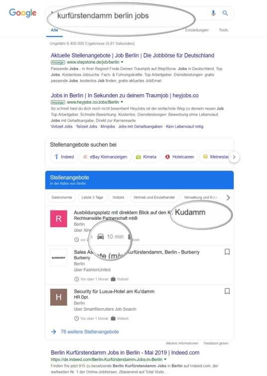 Google for Jobs - Suche nach direktem Standort