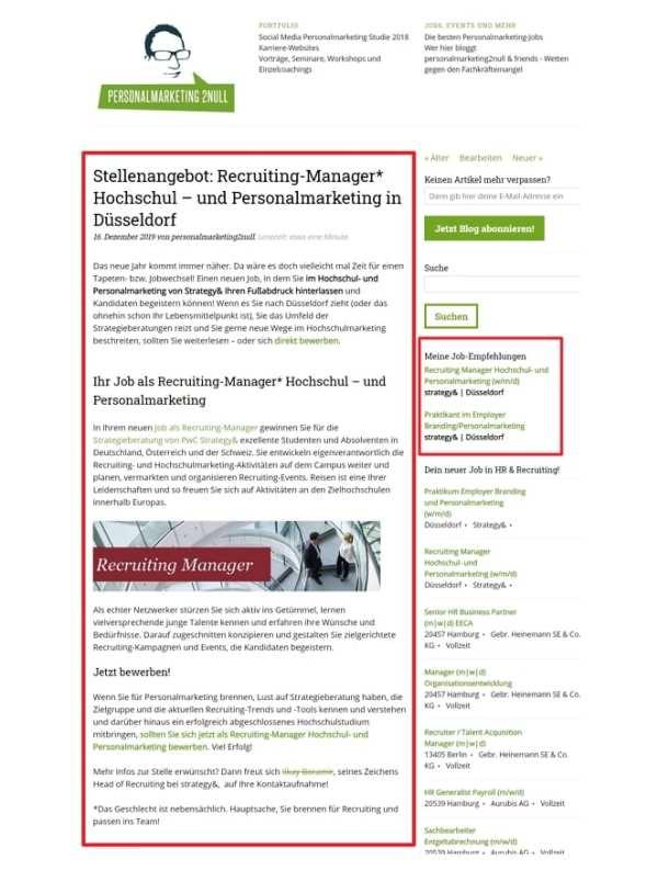 Personalmarketing-Jobs Premium - Recruiting-Jobs schalten bei pm2null