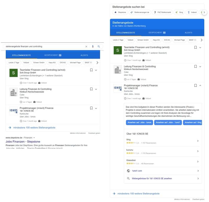 Neues Feature bei Google for Jobs - die Vorschau ermöglicht eine direkte Bewerbung