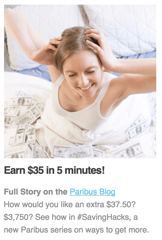 Paribus Bitcoin Email Screenshot