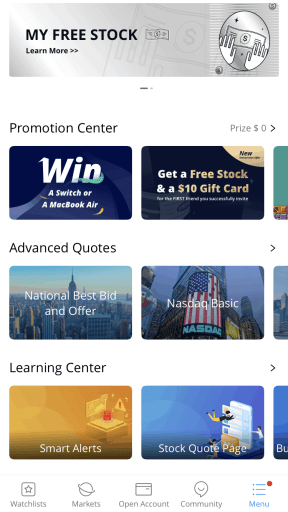 WeBull review screenshot- Learning Center- PersonalProfitability.com