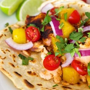 Blackened Salmon Tacos with PR Tortillas