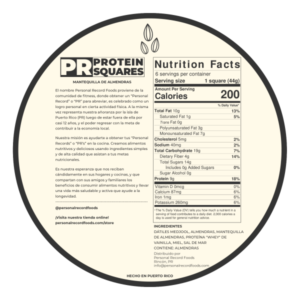 PR Protein Squares - Almond Nutrition Facts
