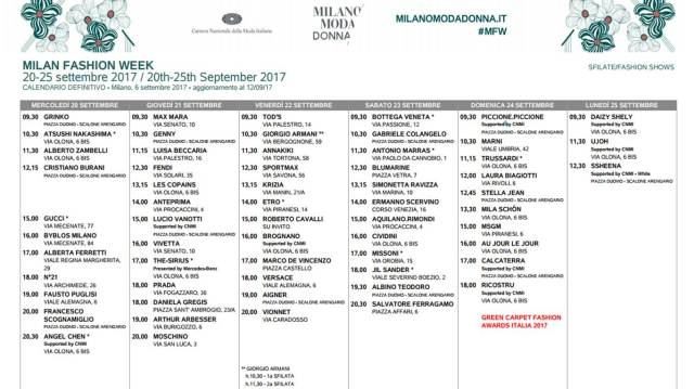 milano fashion week 2017 schedule