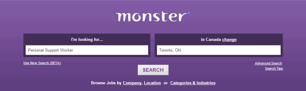 How to Use Monsterca to Find PSW Jobs