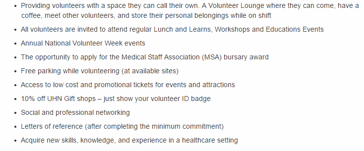 Benefits of becoming a volunteer with UHN