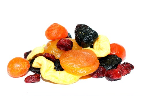 A pile of dried fruit, dense in sugar.