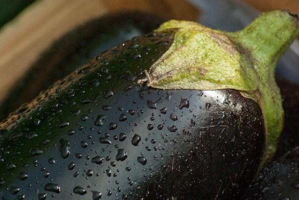 Roerbak met aubergine en taugé