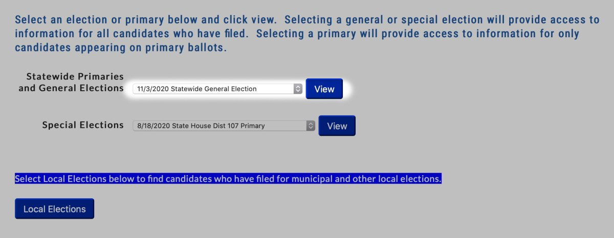 Select upcoming election to find state candidates