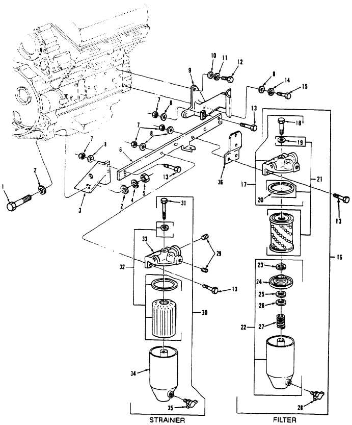 Figure 38. Fuel Filter and Strainer Assemblies and Related
