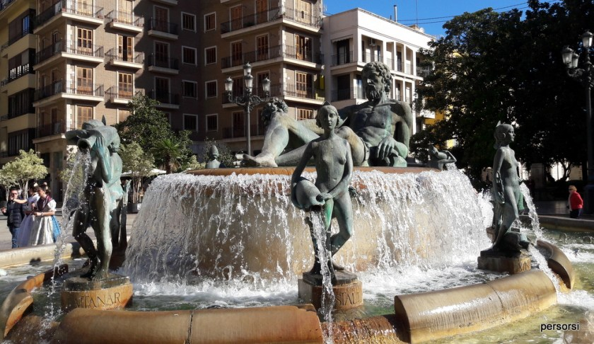 La fontana che rappresenta il fiume Turia, a Valencia