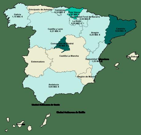 Mapa de distribución regional de las subvenciones NEOTEC 2019