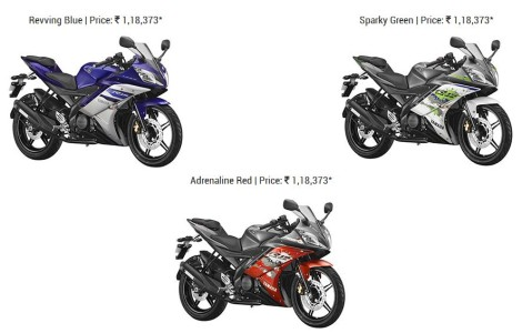 tiga warna yamaha R15 India