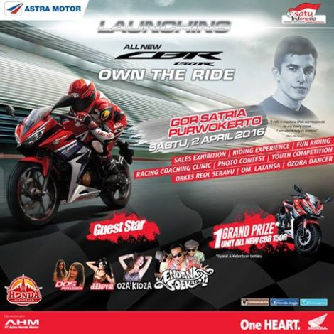 Launching All New Honda CBR150R 2016 Area Jogja edu Banyumas 2 April 2016 di Puwokerto, Nonton Yuk pertamax7.com