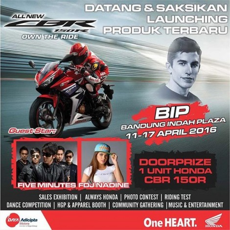 Ayo Nonton Launching All New Honda CBR150R 2016 di Bandung Indah Plaza 11-17 April 2016