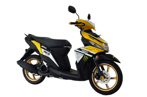 Modifikasi Yamaha Mio M3 Monster kuning Custom Cargloss painting Shop Pertamax7.com