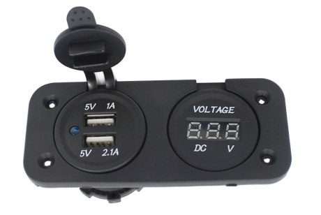 2 in 1 Dual USB Car Charger Adapter with Voltmeter Monitor Panel DC 5V 2 1A