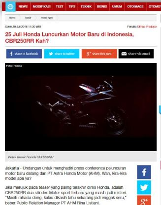 Benarkah Launching All New Honda CBR250RR pada 25 Juli 2016 pertamax7.com