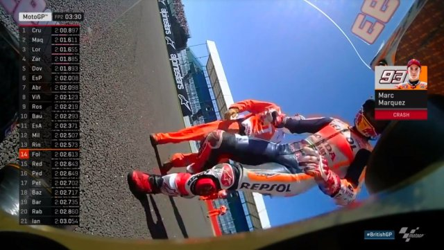 Marc Marquez Crash FP2 MotoGP UK 2017