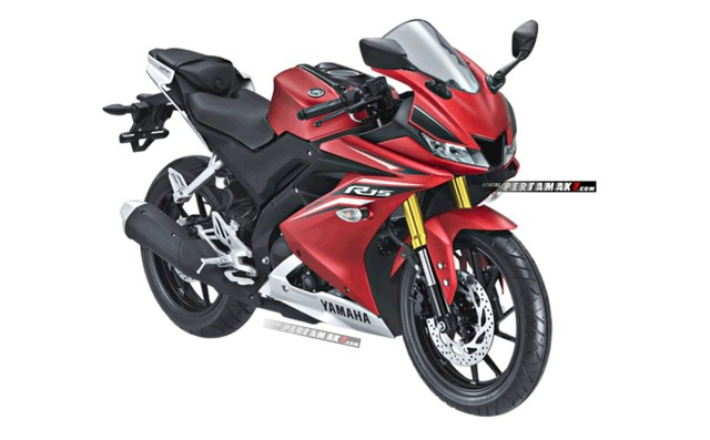 Yamaha All New R15 merah Upside Down Warna Emas