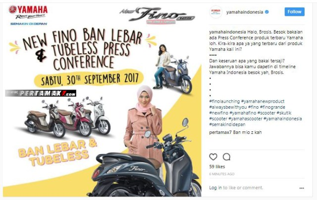 Launching Yamaha Fino 215 Ban Lebar Tubeles 2017 September 30