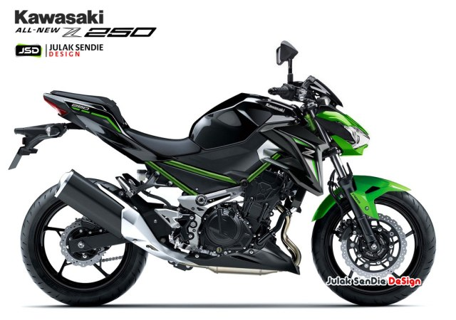 Gambaran Kawasaki All New Z250 Facelift Ala Moge Z900