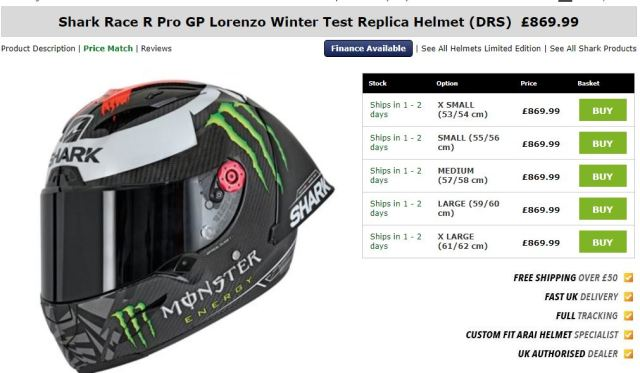 Harga Shark Race-R Pro GP Lorenzo Replika