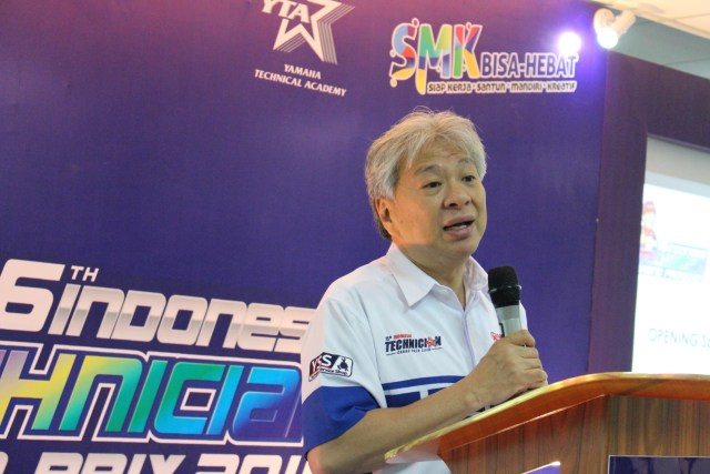 Dyonisius Beti, Vice Executive President & COO PT Yamaha Indonesia Motor Manufacturing saat opening speech Indonesia Technician Grand Prix ke-16 (2)
