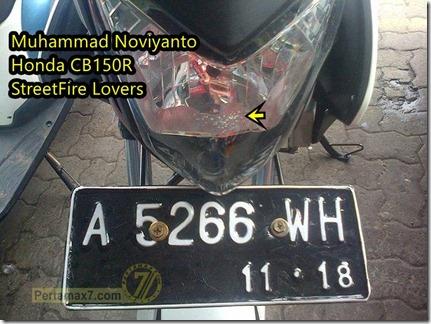 mika headlamp honda CB150R leleh