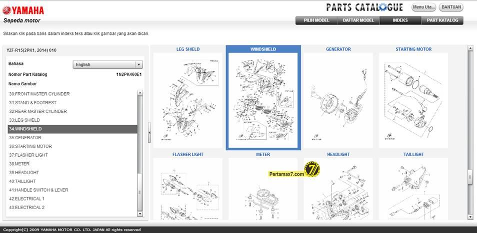 Parts Catalogue Yamaha YZF-R15 Indonesia Sudah dibuka