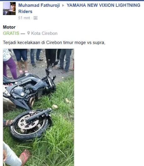 Kecelakaan Moge Kawasaki ER6N VS Honda Supra Sampai sok depan patah di Cirebon, Ngeri pertamax7.com