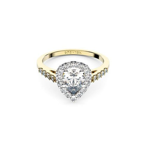 Perth diamonds halo pear yellow gold engagement ring